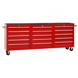 Carro para herramientas con 15 cajones acero rojo