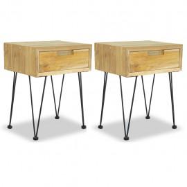 Mesitas de noche 2 unidades madera maciza de teca 40x30x50 cm