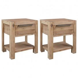 Mesitas de noche con cajones 2 uds 40x30x48cm madera de acacia