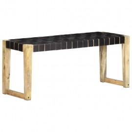 Banco de cuero auténtico negro y madera de mango maciza 110 cm