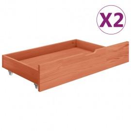 Cajones de cama 2 uds madera maciza de pino marrón miel