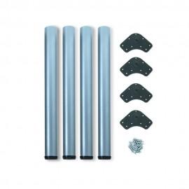 Patas para mesa, D. 60 mm, regulable 830 - 850 mm, Acero, Gris metalizado, 4 ud.