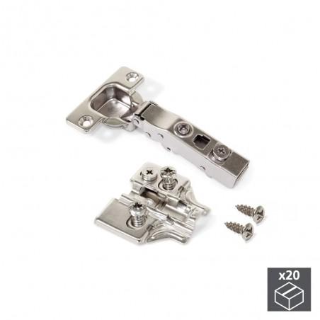 Bisagra de cazoleta, D. 35 mm, recta, cierre suave, apertura 100º, con suplemento Euro, 20 ud.