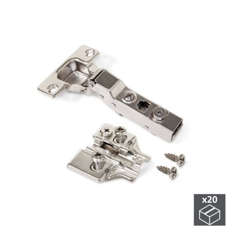 Bisagra de cazoleta, D. 35 mm, codo, cierre suave, apertura 100º, con suplemento Euro, 20 ud.