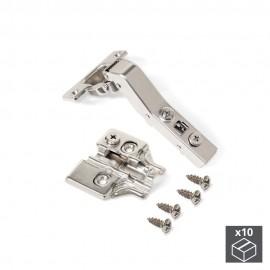 Lote de 10 bisagras brazo angular 45º X91  con cierre suave y suplementos para atornillar con regulación excéntrica