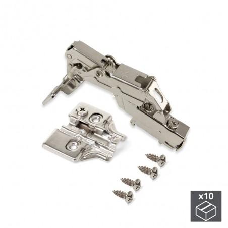 Bisagra de cazoleta, D. 35 mm, supercodo, cierre suave , apertura 165º, con suplemento, 10 ud.