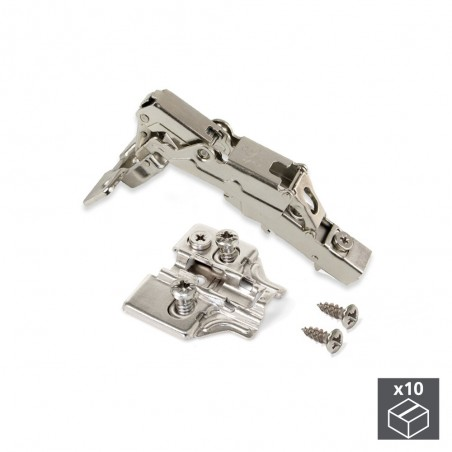 Bisagra de cazoleta, D. 35 mm, recta, cierre suave apertura 165º, suplementos Euro, 10 ud.