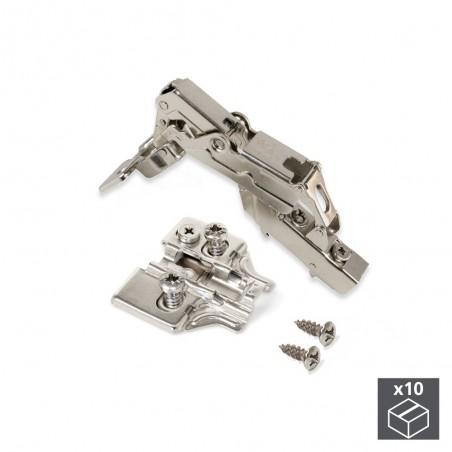Bisagra de cazoleta, D. 35 mm, codo, cierre suave, apertura 165º, suplementos Euro, 10 ud.