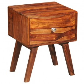 Mesita de noche con 1 cajón de madera maciza sheesham 55 cm