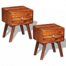 Mesitas de noche con 1 cajón de madera de sheesham 2 uds 55 cm