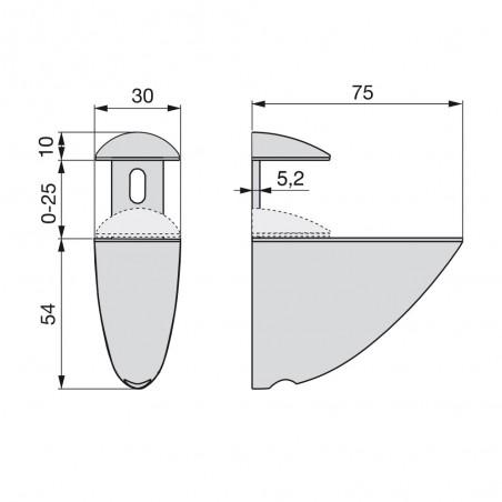 Lote de 2 soportes Azor  para estante de madera o cristal acabado gris metalizado