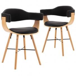 Sillas de comedor 2 uds cuero sintético y madera curvada negro
