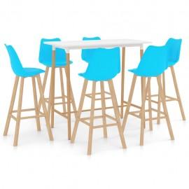 Mesa alta y taburetes de bar 7 piezas azul