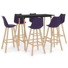 Mesa alta y taburetes de bar 7 piezas morado
