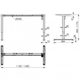 Mesa motorizada regulable en altura, acero, negro