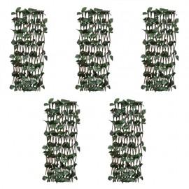 Vallas enrejadas de sauce 5 uds hojas artificiales 180x30 cm