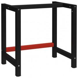 Estructura de banco de trabajo metal negro y rojo 150x57x79 cm