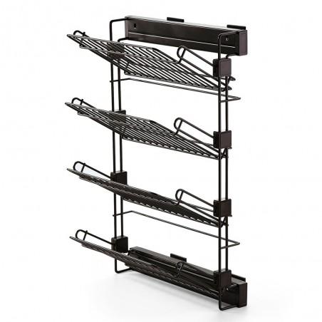 Zapatero lateral extraíble para interior de armario, montaje derecha, Acero, color moka