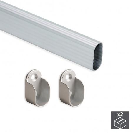 Barra de armario, ovalada 30x15 mm, 950 mm, Aluminio, Anodizado mate, 2 ud.