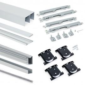 Sistema corredero para armario 2 puertas rodadura inferior, espesor 16 mm, cierre suave, perfiles aluminio, Anodizado mate