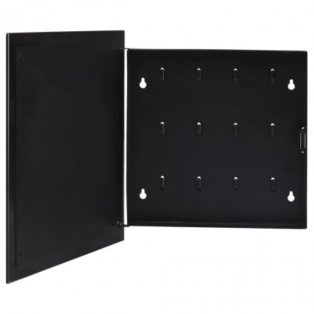 Caja de llaves con tablero magnético negra 35x35x5,5 cm