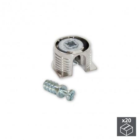 Enganches para fijación estantes, D. 20 mm, 12,5 mm, + Pernos D. 6, 8 mm, Zamak y Acero, Niquelado, 20 ud.