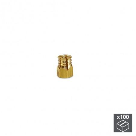Tuerca expansible, M4, D. 5,5 mm, Latón, 100 ud.