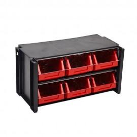 Estante Clasificador 100X170X80Mm 06Cajones Abs Negro/Rojo Tayg