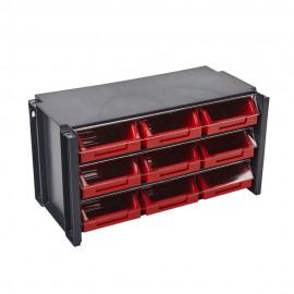 Estante Clasificador 100X170X50Mm 09Cajones Abs Negro/Rojo Tayg