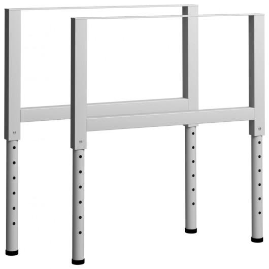 Estructura de banco de trabajo 2 uds metal 85x(69-95,5)cm gris