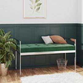 Banco de acero inoxidable y terciopelo verde oscuro 97 cm