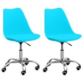 Sillas de oficina 2 unidades cuero sintético azul