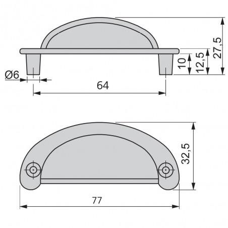 Tiradores para mueble, intereje 64 mm, Zamak, Negro, 20 ud.