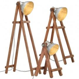 Lámpara de pie 3 pzas madera maciza de mango plateada E27