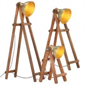Lámpara de pie 3 pzas madera maciza de mango latón E27