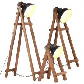Lámpara de pie 3 pzas madera maciza de mango negro E27