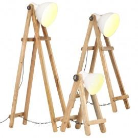 Lámpara de pie 3 piezas madera maciza de mango blanco E27