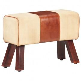 Banco de lona y cuero auténtico marrón 58 cm