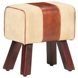 Banco de lona y cuero auténtico marrón 38 cm