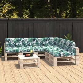 Cojines para sofá de palés 7 unidades estampado de hojas