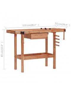 Banco de trabajo carpintería con cajón y 2 mordazas madera dura