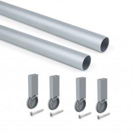 Kit de barra para armario redonda D. 28, 1150 mm, aluminio, Anodizado mate