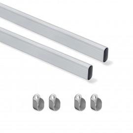 Kit de barra para armario 30x15 mm aluminio, 750 mm, Anodizado mate