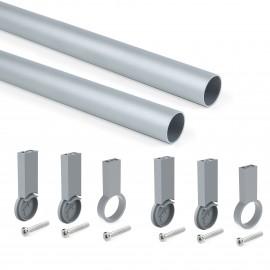 Kit de barra para armario redonda D. 28, 750 mm, aluminio, Anodizado mate
