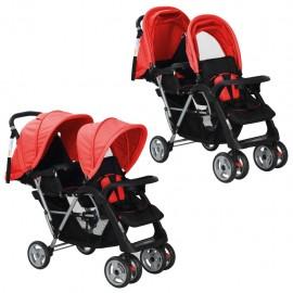 Carrito para dos bebés tandem rojo y negro de acero