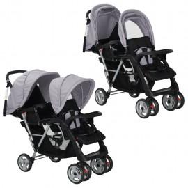 Carrito para dos bebés tandem gris y negro de acero