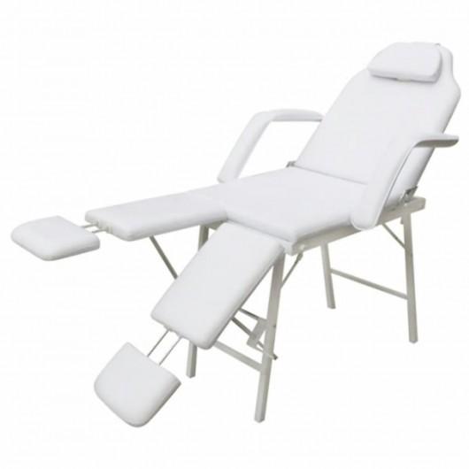 Silla de masaje y tratamiento con apoyo para piernas ajustable, blanca