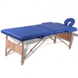 Mesa camilla de masaje de madera plegable de dos cuerpos azules