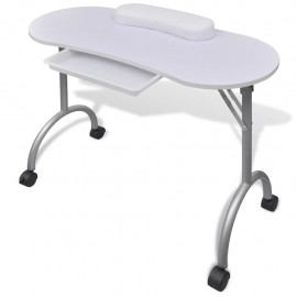 Mesa de manicura plegable con ruedas blanco