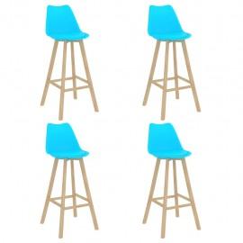 Taburetes de cocina 4 unidades azul PP y madera maciza de haya
